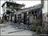 A burnt-out building in Nuku'alofa, Tonga