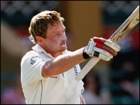 Ian Bell salutes the crowd after scoring a century against South Australia