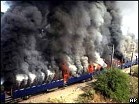 The Deccan Queen train, set alight 65km from Mumbai