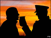 A motorist stopped by police takes a breath test near Doncaster