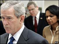 George W Bush, US National Security Adviser Stephen Hadley and Condoleezza Rice