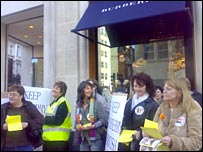 Burberry's Treorchy workers at the firm's New Bond Street store