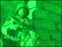 Grab from night footage of the operation in Basra