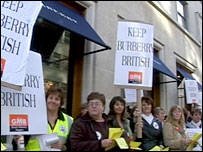 Burberry workers protesting at a London store