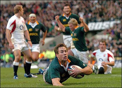 Butch James scores the opening try of the match for South Africa