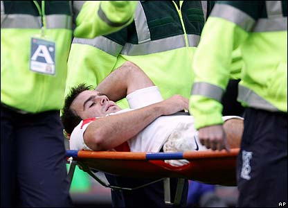 Charlie Hodgson is stretchered off with a knee injury