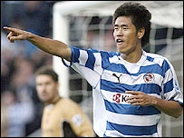 Reading striker Seol Ki-Hyeon celebrates his goal in the 2-0 win over Charlton