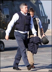 Chancellor Gordon Brown arrives at Basra air station
