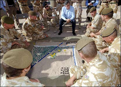 Chancellor Gordon Brown with members of the Princess of Wales Royal Regiment