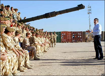 Chancellor Gordon Brown addresses members of the Princess of Wales Royal Regiment