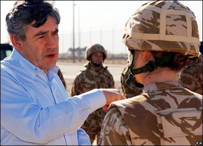 Chancellor Gordon Brown meets Sgt Karen Tolladay, 34