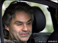 Singer Andrea Bocelli arrives at the wedding