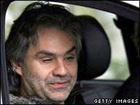 Singer Andrea Bocelli arrives at the wedding