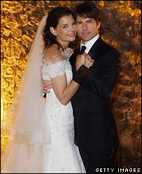 Tom Cruise and Katie Holmes after exchanging vows