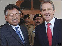 Pakistan President Pervez Musharraf and UK Prime Minister Tony Blair