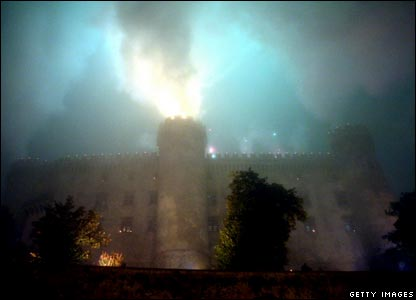 Fireworks explode over the Castello Odescalchi, where Katie Holmes and Tom Cruise got married