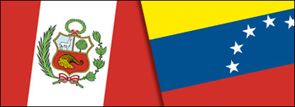 Banderas de Venezuela y Perú