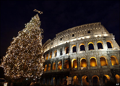 Christmas tree at the Coliseum, Rome