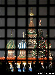 Christmas tree by St Basil's Cathedral, Moscow