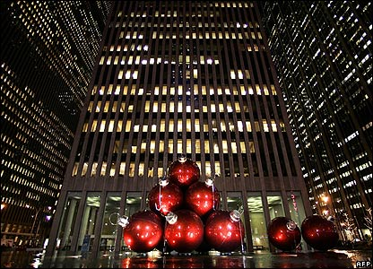 Giant Christmas baubles on 6th Avenue in New York