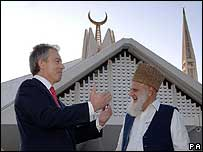 Mr Blair meets an Imam outside Faisal Mosque, Islamabad