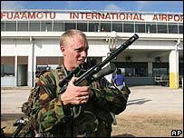 New Zealand soldier arrives in Tonga's capital, Nuku'alofa