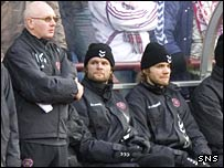 Steven Pressley on the bench at Tynecastle