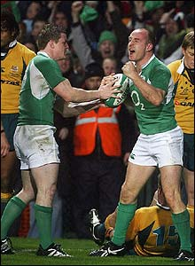 Denis Hickie celebrates after scoring Ireland's first try