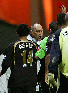 Referee Phil Dowd banishes Spurs boss Martin Jol to the stand