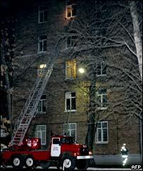 Пожарная машина у больницы