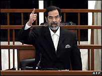 Saddam Hussein as death sentence is delivered. 5 November, 2006