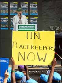 Madeleine Albright addresses demonstrators in the US calling for UN intervention in Darfur