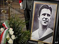 Ferenc Puskas' coffin in