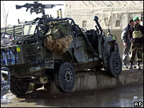 Military vehicle damaged by suicide bomb in Afghanistan