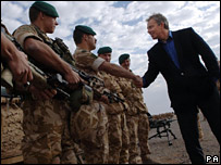 Tony Blair meets troops in Afghanistan