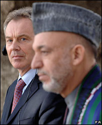 Tony Blair and Afghanistan President Hamid Karzai