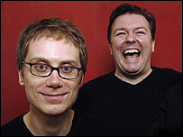 Ricky Gervais (right) and comedy partner Stephen Merchant