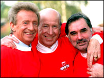 Denis Law (left, Sir Bobby Charlton (centre) and George Best