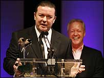 Ricky Gervais with Keith Chegwin (r)