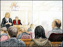 Artists sketch showing Robert Pickton (far right) in court