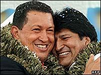 Venezuelan President Hugo Chavez and Bolivian leader Evo Morales