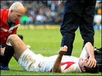 Charlie Hodgson receives treatment on the Twickenham pitch