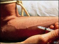Man injecting heroin