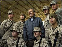 Defence Secretary Donald Rumsfeld in Anbar province, Iraq