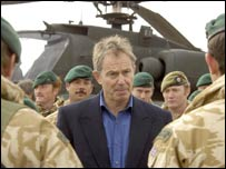 Tony Blair and troops