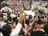 Members of a congregation take part in a multidenominational church service in the capital of Fiji