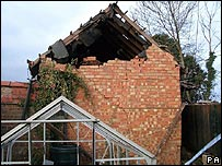 Undated photo of damage to Ian Silverstein's property near the Buncefield depot