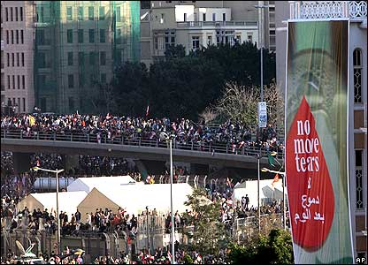 Supporters rally in central Beirut.