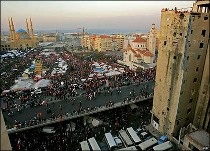 Protesters gathered in Martyr's Square, Beirut.