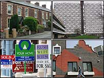 Houses and for sales signs